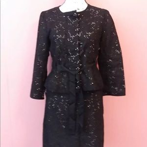 And Taylor Loft Black Eyelet 2 pc Skirt Suit